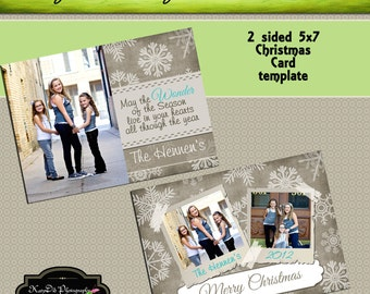 INSTANT DOWNLOAD Christmas card template Winter Wonderland 5x7 psd file , customized , personalized