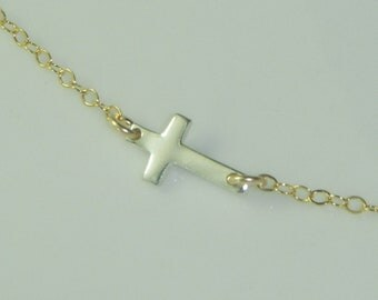 Sideways Cross Necklace-Gold and Silver-Celebrity Inspired-Free US Shipping