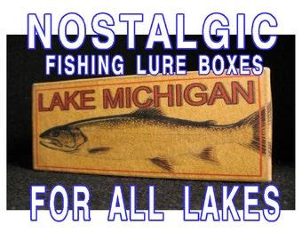 lake house decor Fishing cabin trout michigan minnesota gift lure boxes 4YourLake