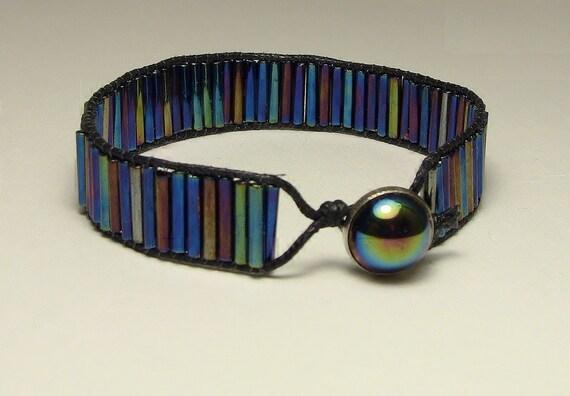 Blue Iris Bugle Bead Bracelet