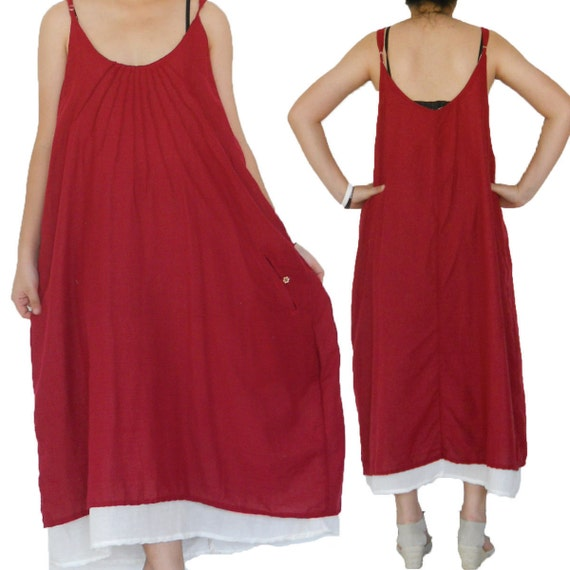 SALE 30% off - 2 Layers Red and White Simply Long Dress size L-2XL