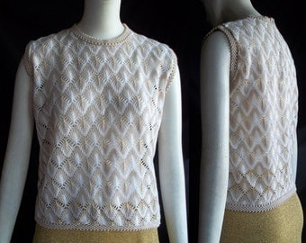 Vintage 60s MOD Japan Novelty Leaf Stitch w Metallic Knit Sweater Shell Top M