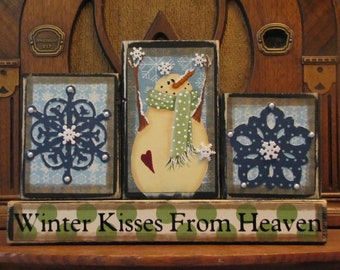 Winter Decor, Winter Sign, Snowman Sign - Winter Kisses From Heaven Christmas Sign Word Blocks