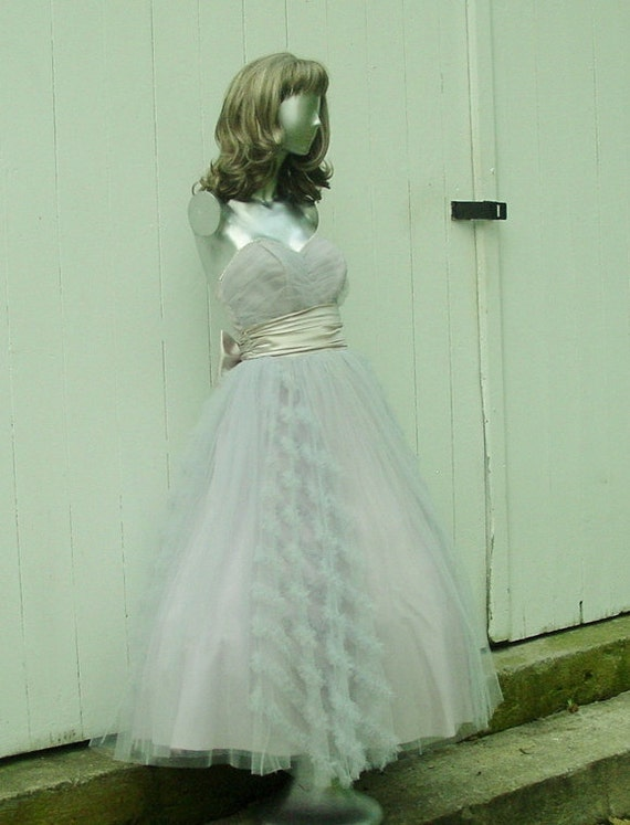 RESERVED for Rebecka - Stunning 1940's Vintage Pale Blue and Lavender, Prom / Party / Wedding Dress Sz  M