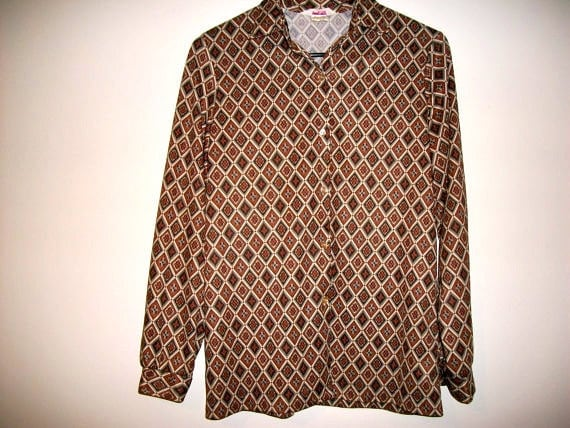 Vintage 70s black and orange psychedelic geometric top - FREE shipping