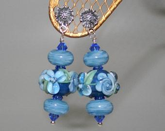 Blue Floral Lampwork N Sterling Silver Earrings