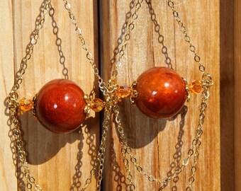 "6"" 1/4 L dZi, agate stone bead, rust color wood, gold chain, dangle, shoulder length, earrings"