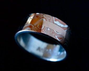 Mokume Gane Wedding Ring ( MK-Split w 14k Rose )