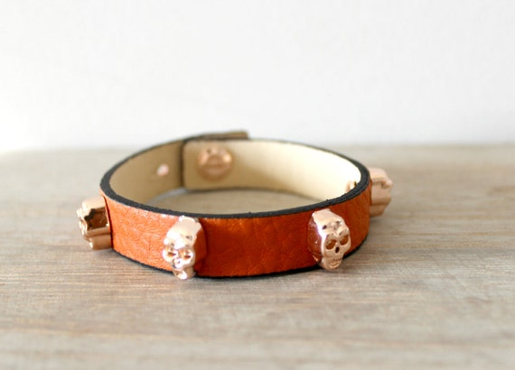Tangerine Leather Bracelet with Rose gold Skull Studs