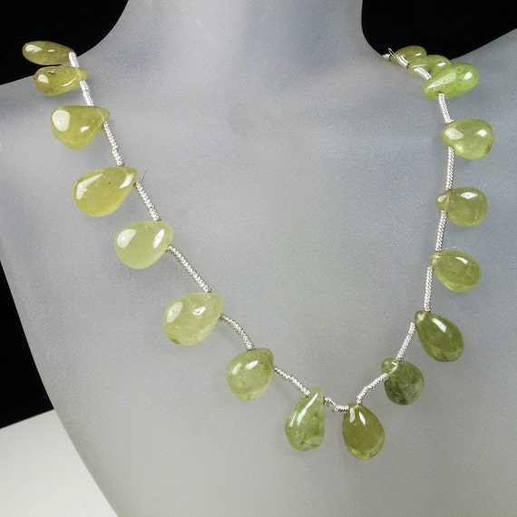 Grossular Garnet Briolettes, Green Garnet Pears, Smooth Pear Briolettes, Golden Green, Yellow Green - 1/2 strand