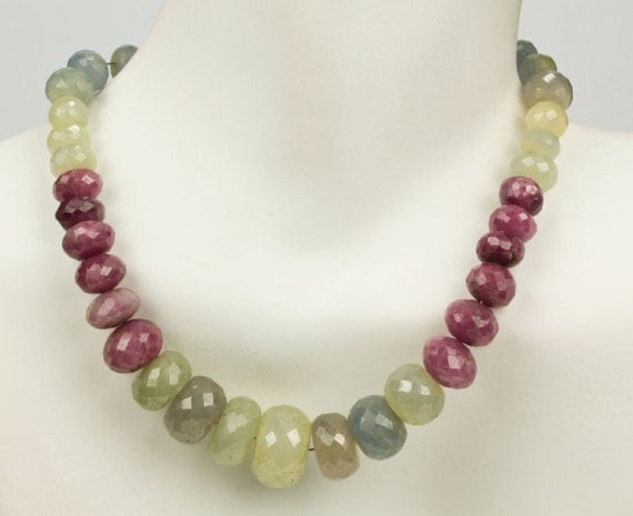 """Sapphire Rondelles, Multicolor Sapphires, Multi Color Mixed Colors, Rondels, Ivory, Grey, Pale Blue, Pink - 8"""" Strand - 4 to 11.7mm"""