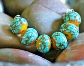 Mossy Stone - Handmade lampwork bead set.