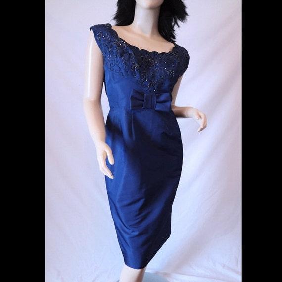 Sale Vintage 50s Dress Seymour Jacobson Elegant Blue Silk Beaded Hourglass Cocktail Party Dress & Wrap Shawl Collar Jacket S/M