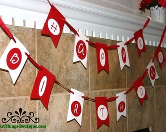 Happy Birthday Flag Banner Garland Red White CUSTOM