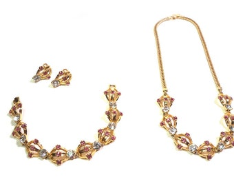 Vintage 1950s Pink & Crystal RHINESTONE Jewelry 3 Piece Set Bracelet, Necklace and Earrings