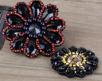 SALE CLEARACNE 25% off  : Romance Novel Taos Beaded Patch And Fabric Flowers embellishment, flower center