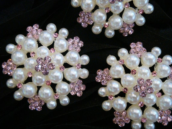 6 pcs - 30mm Silver Metal Plated LIGHT PINK Rhinestone Buttons with Pearl surrounded - wedding / hair / dress / garment accessories