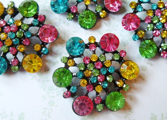 RESERVED for AF ONLY: 4 pcs - 28mm Winter Flake Metal Rainbow  Rhinestone Buttons with Shank on the back