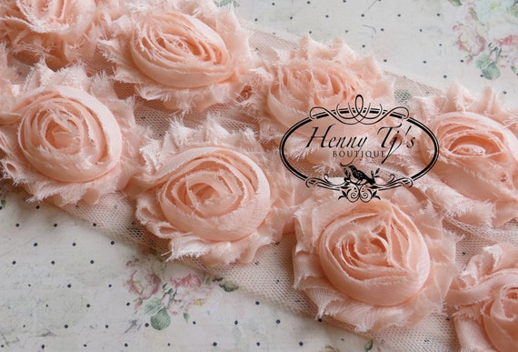 2 1/2 inch- 1 yard Chiffon Shabby Rose Trim, Hair Bow. Chiffon Rossettes Trim in BABY PEACH, Hair Bow
