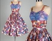 Vintage 1950s Dress . Purple Chiffon . Shirred Bodice . Full Skirt . XS/S . 1811