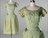 Vintage 1950s Dress . Mint Green Lace . Tulle . Bow . Emma Domb . M/L . 1688