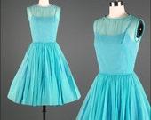 Vintage 1950s Dress . Turquoise Silk Chiffon . Illusion Bodice . 1273