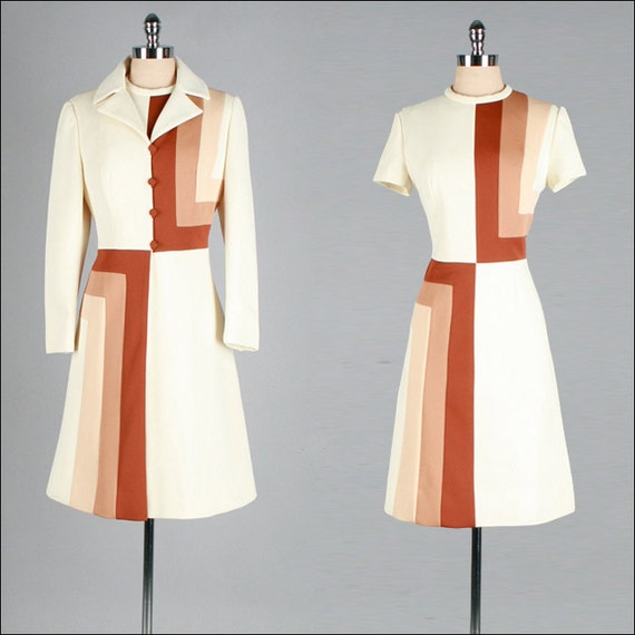 Vintage 1960s Dress . Ivory . Jacket . Mod . Lilli Ann . L/XL . 2344