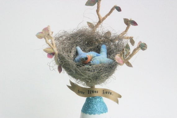 ON SALE 50% OFF Vintage Appeal Spun Cotton Blue Bird(s) in Nest with Egg