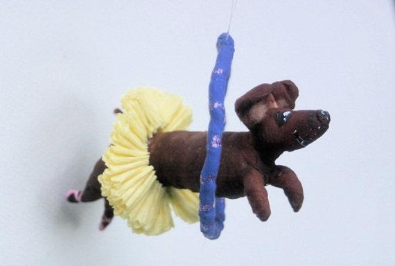 Ooak Spun Cotton Circus  Dachshund Jumping Through Hoop in Tutu Ornament