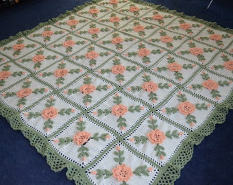 Floral Peach Wild Roses Crocheted Afghan Blanket Throw - Made fresh after sale - 36 squares