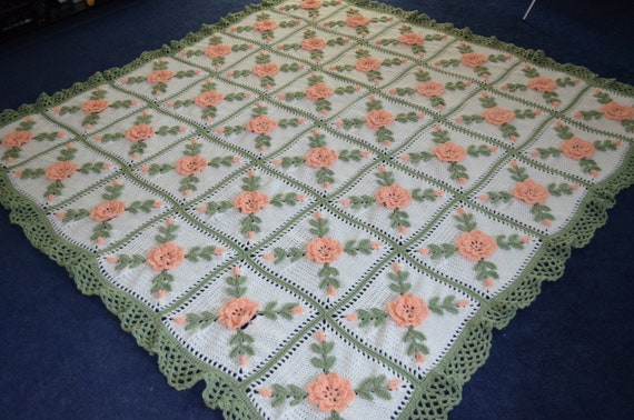 Floral Peach Roses Crocheted Afghan Blanket Throw - Made fresh after sale - 36 squares