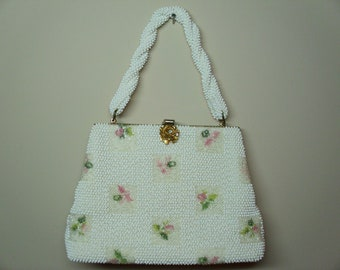 Vintage 1960's   Lumured Petite Bead Handbag  Deadstock