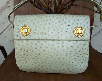 REDUCED!!! Faux Ostrich Skin Bag Tan Signed Rodo