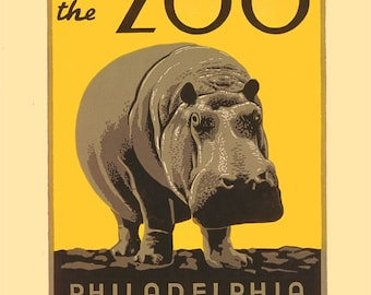 """Vintage Giclee Reproduction Popular Philadelphia WPA  Poster of Hippo """"Visit The Zoo"""""""
