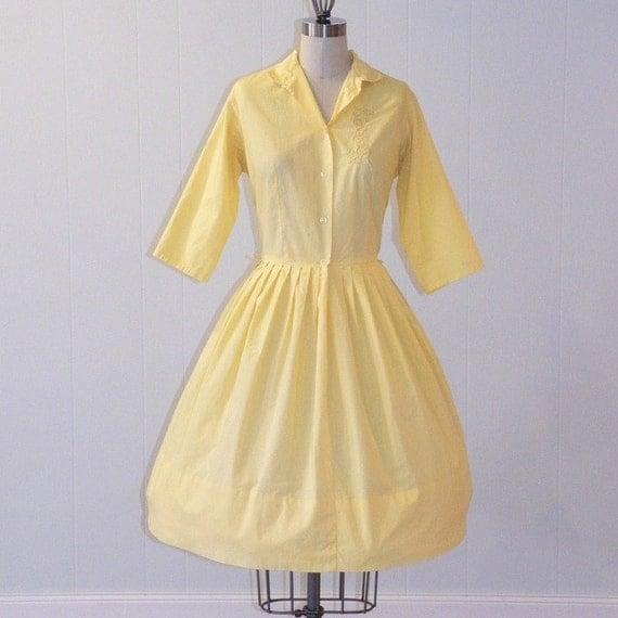 50s Dress, 1950s Shirtwaister, Bright Yellow Cotton Full Skirted Shirtwaist Day Dress, Embroidered Detail, Bombshell Chic