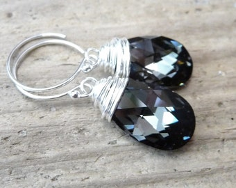 Black Diamond Crystal Earrings, Swarovski Pear Crystals, Black, Silver, & Grey Sterling Silver Dangle Wire Wrapped Earrings, Fashion