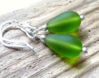 Green Seaglass Teardrop Earrings, Sea Glass Earrings, Sterling Silver Earrings, St. Patricks Day