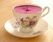 Teacup Candle - Marlborough China Violet Pattern English Bone China Soy Wax Tea Cup Candle - your choice scent