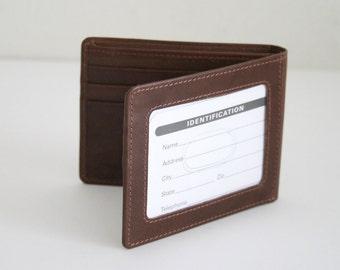Genuine Soft Leather Basic Men Wallet, Bifold, Vintage 1990 in Antique color, Rare