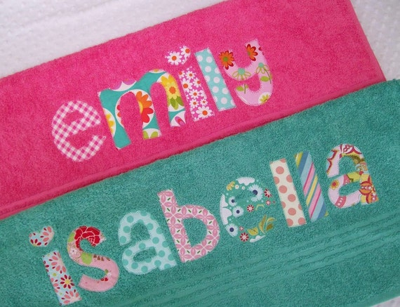Personalized  Towel -  appliqued name -  Choose Fabric and Towel Color -  beach, bath, pool, swim teams, rest mat, birthday, college