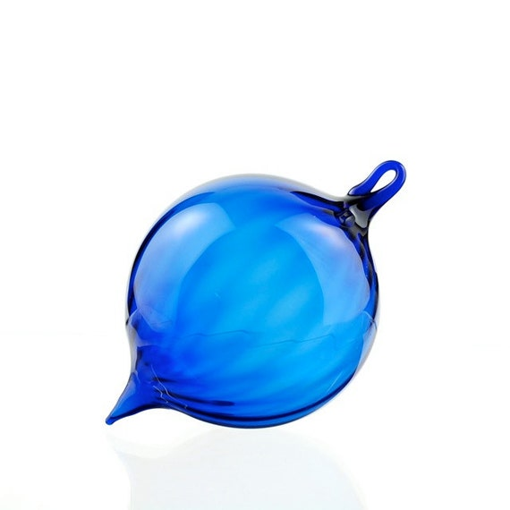Hand Blown Glass Ornament, Scalloped Cobalt Blue