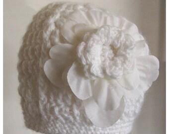 White Hat with White Silk Flower