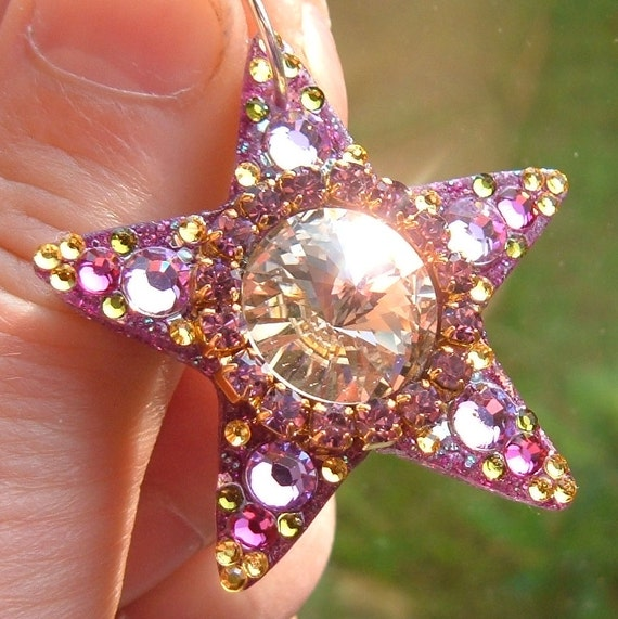 """SOLD to a Patti  but I do make smaller shining stars at 1.5""""  can do most color combos, glittery star, faerie adornment"""