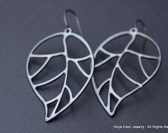 Leaf Earrings, Gunmetal, Brass, Fall Earrings, Fall Jewelry