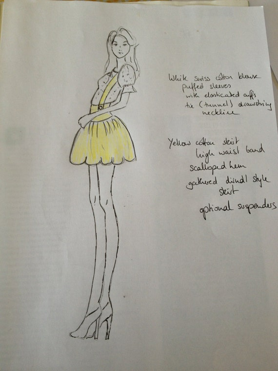 Reserved for Liz, 1960s inspired outfit yellow scalloped hem skirt