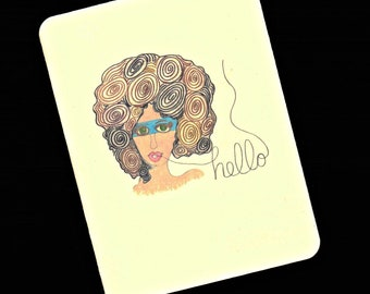 Hello Illustrated Art Card by Yvonne Wilson