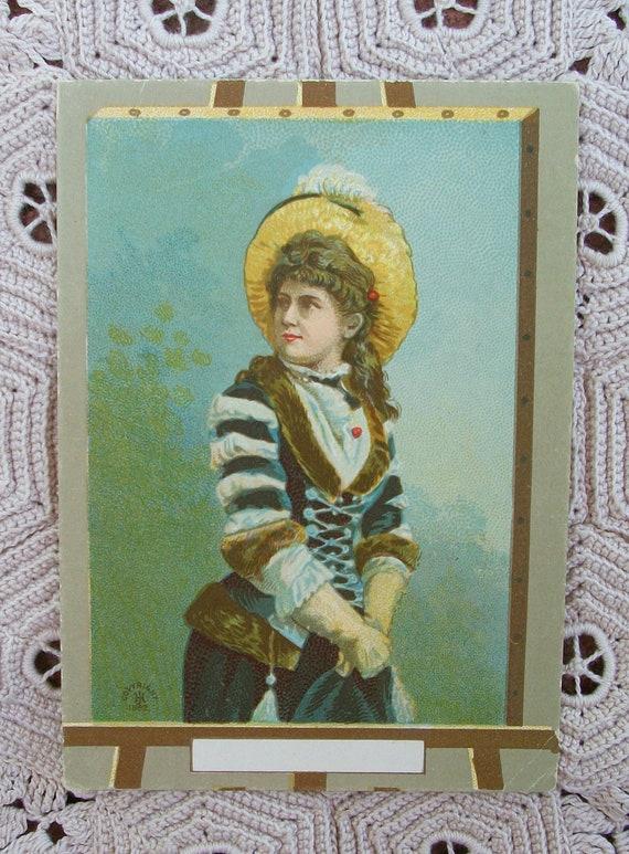 Original Lithograph Victorian Lady