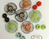 Flowers Lampwork Glass Beads, FREE SHIPPING, Handmade Glass Disc Beads  in Orange, Red and Green, Rachelcartglass