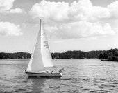 Nautical sweden Photography beach ocean boat lines sailing Sweden Baltic Sea clouds soft black white ship - Escape - fine art photo