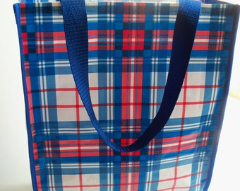 Vintage Red White and Blue  Plaid Tote